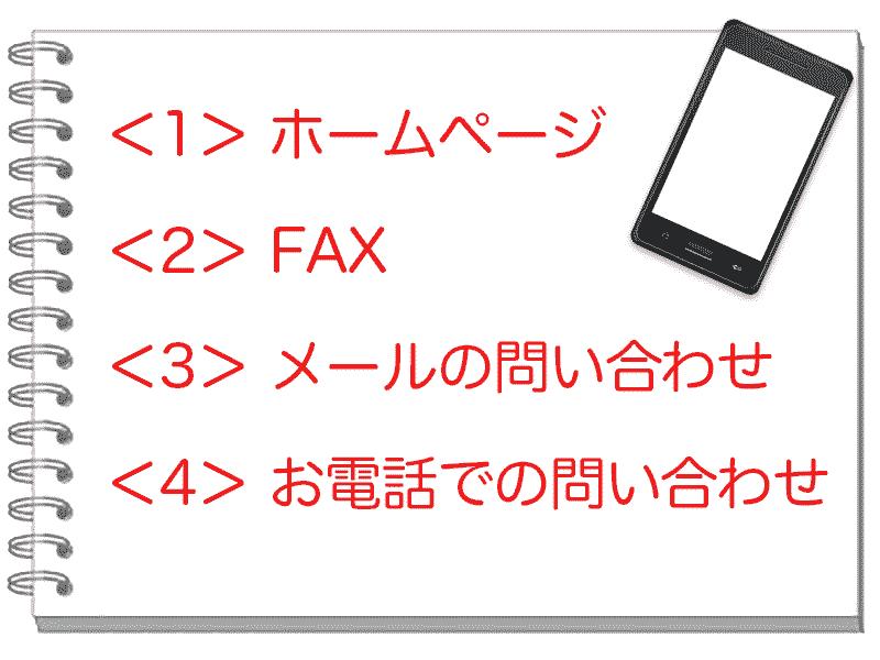 ホームページ FAX メールの問い合わせ お電話での問い合わせ